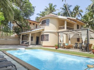 A 3BHK lavish villa with a pool deck in Calangute