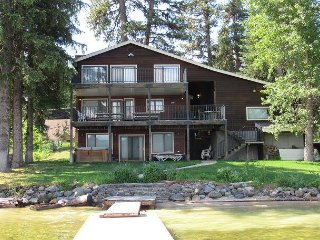 Large Lakefront Home with Private Dock, Sandy Beach and Hot Tub.