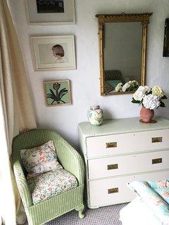 A pretty corner of the green bedroom.
