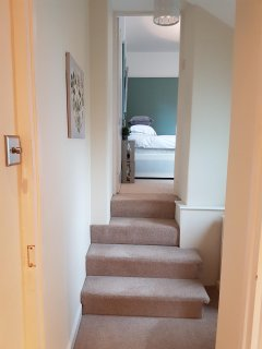 Two steps down and into the twin room