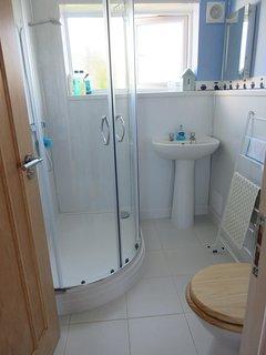Shower room, wash basin, toilet and heated towel rail.