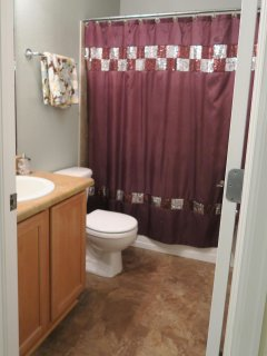 Upper Level Guest Bath. Towels, Shampoo, Conditioner, Lotion, Blow Dryer, Q-tips are all provided.