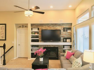 Great Room Features a 52' Flat screen TV with Cable and DVD Player as well as a Gas Fireplace.