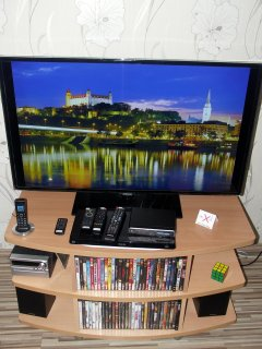 46 inch smart TV + region free DVD player with movie library in the living room