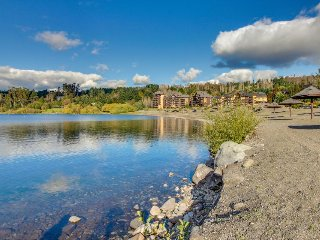 Stylish lakefront condo with shared pool, deck, views - close to town!