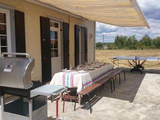 Terrasse 54m² table de jardin de 12 personnes, barbecue à gaz, table de ping-pong.