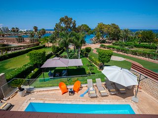 Beachfront villa in the center of Protaras with heated swimming pool