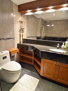 Large well lit bathroom