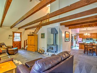 Step inside and make yourself at home where rustic decor, plush carpet and wooden ceiling beams greet you.