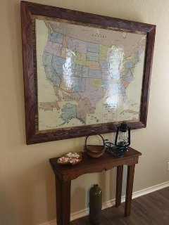 Handcrafted US frame for my lovely guests to pin where they come from.