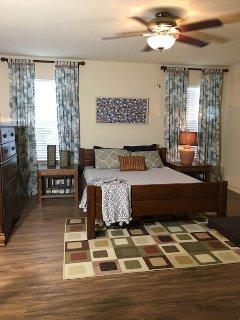 Master bedroom, queen bed.