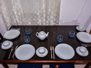 Dinning for 4 people this room has air con, cable tv, free wifi, bathroom also kitchen