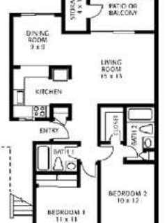The floor plan for your 2 bedroom 2 bathroom apartment.