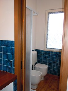 Shower room with bidet and wc