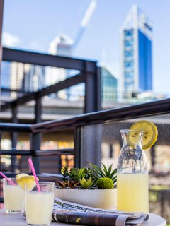 Sit Back and Relax, Sipping Your Favourite Cool Drink, Enjoying Perth's City Skyline