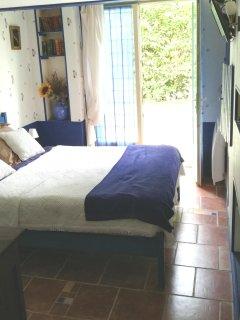 Chambre bleue (vue sur terrasse et jardin)
