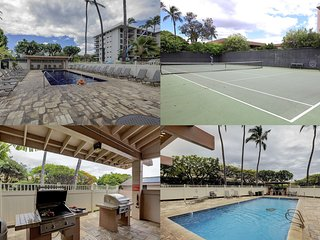 Tennis court and 2 guest-only swimming pools each with outdoor shaded gas grills