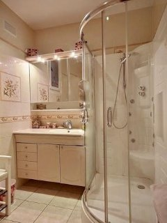Bathroom 1is equipped with : washbasin, massage shower, toilet, tiled floor.