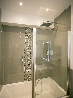 Lower Ground Floor family bathroom - excellent shower above the bath
