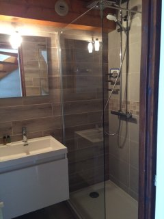 Newly fitted bathroom with large walk in shower