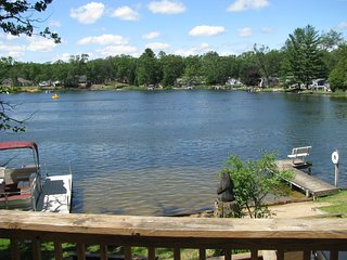 Haven Lake from the deck. Two docks and pontoon.