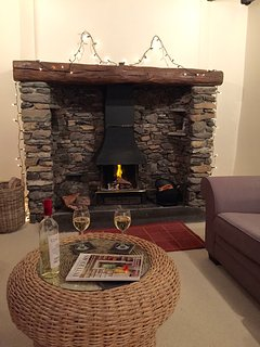 Cosy  log fire - first logs provided