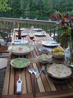 Dinner on side deck