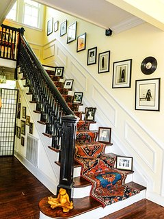 Staircase leading up to the three private bedrooms in the Clarksdale White House.
