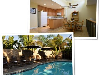 2 br 2 bath, block from beach, ocean views upstairs. Wifi ,Pool & activities