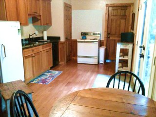 Small kitchenette with stove, microwave and frig.  Great views for early morning coffee in WV