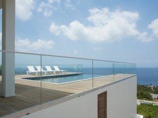Private infinity pool overlooking the Caribbean Ocean.