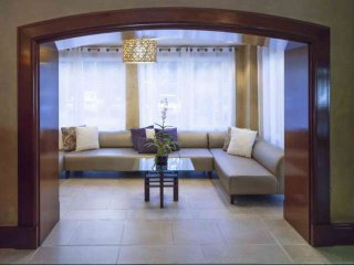 Modern furnishings in the lobby's lounge area.