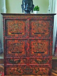 Antique Tibet Dragon cabinet.