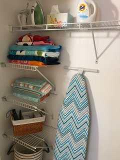 Everything from laundry soap to iron, beach towels to tote bags.