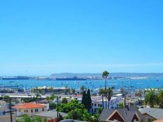 View of sailboats, sailboat races, San Diego Bay and Pt. Loma