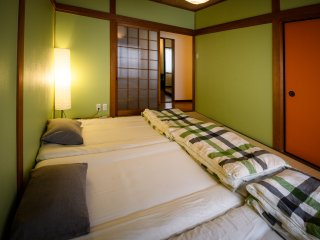 Japanese style bedding in the second bedroom: Futons and tatami fun for kids & good for your back!