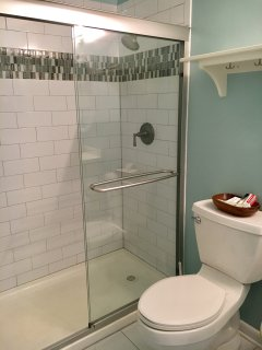 The large tiled shower has a nice accent strip and glass doors.