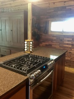 Beautiful quartz counter tops and gas stove/oven.