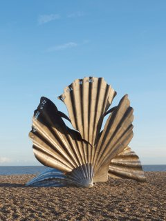 Maggi Hambling's famous scallop sculpture just a short walk along the beach from Oriel Cottage