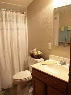 Full bath with wonderful towels and things you may need