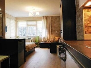 Studio apartment 369 m from the center of Sofia with Terrace, Washing machine