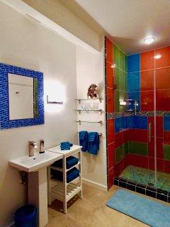 The first floor bath has a walk in shower.