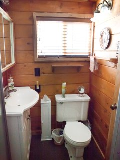 Main 3/4 Cozy Bathroom- Shower, Toilet, Sink and a View