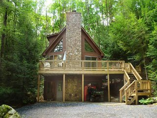 Tucked along the woods, Key to Paradise's mix of modern comfort and rustic
