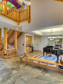 Music Room and Log Stairway