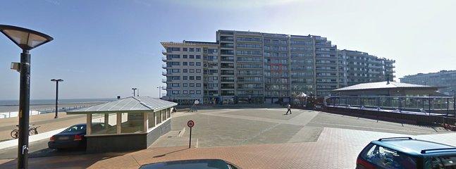 Appartement locatie ten opzichte van de dam (rood)