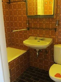 La salle de bain avec WC, lavabo & bain assis