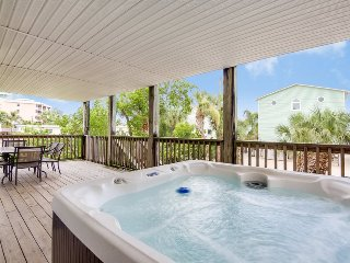 New Private Hot Tub at this Spacious Beachside Home, One House back from the