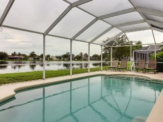 Lakefront home w/ private pool and spacious patio, short drive from the beach