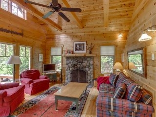 Riverfront cabin with a fireplace, river views, and a deck w/ a grill!